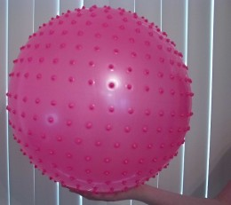 A Giant Non-Magical Knobby Ball my friend won in The Santa Claw last year and then she received it in the mail.
