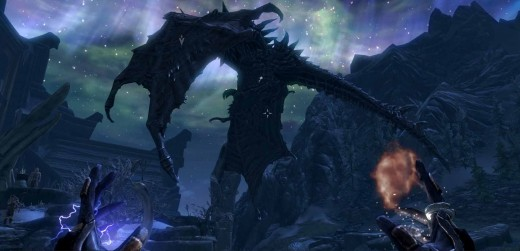 Skyrim Alduin Poised in Midair - Ready the Dragonrend Shout