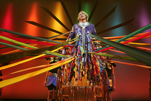Austin Miller in Arkansas Repertory Theatre's production of Joseph and the Amazing Technicolor Dreamcoat. Costume Design by Rafael Castanera.