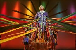 Austin Miller in Arkansas Repertory Theatre's production of Joseph and the Amazing Technicolor Dreamcoat. Costume Design by Rafael Castanera.