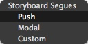 Figure 10: Select the Push Segue
