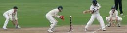 Tendulkar's shot to reach 14,000 Test runs. He was batting against Australia in October 2010.