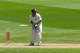 Tendulkar at the crease, getting ready to face a delivery