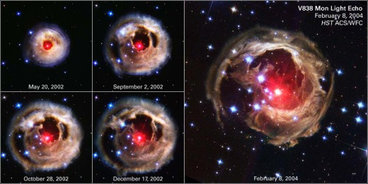 Successive photos of V838 Monocerotis showing the progress of the light echo.