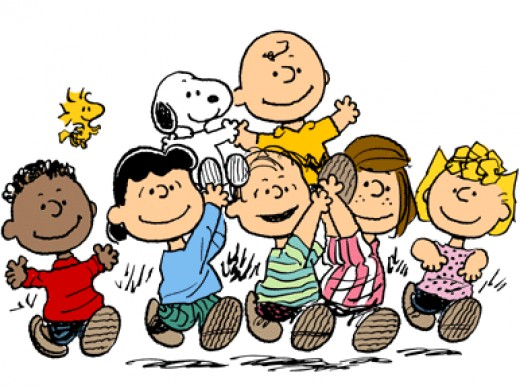Top:  Woodstock, Snoopy, Charlie Brown Bottom:  Franklin, Lucy van Pelt, Linus van Pelt, Peppermint Patty, Sally Brown