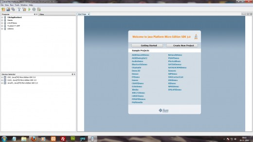 The Start page of java ME SDK 3.0.