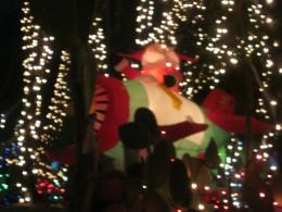 Santa on a propeller airplane (inflatable), among the Christmas lights!