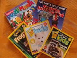 assortment of kids magazines