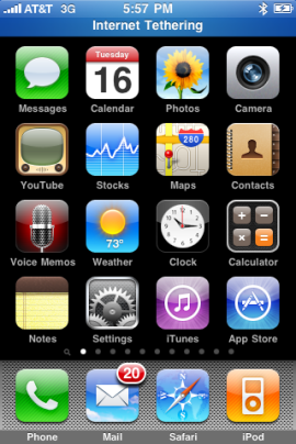 "A blue bar appears across the top of your iPhone screen that says ""Internet Tethering"" when an external device is using your iPhone's Internet connection."