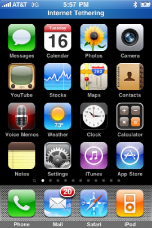"""A blue bar appears across the top of your iPhone screen that says """"Internet Tethering"""" when an external device is using your iPhone's Internet connection."""