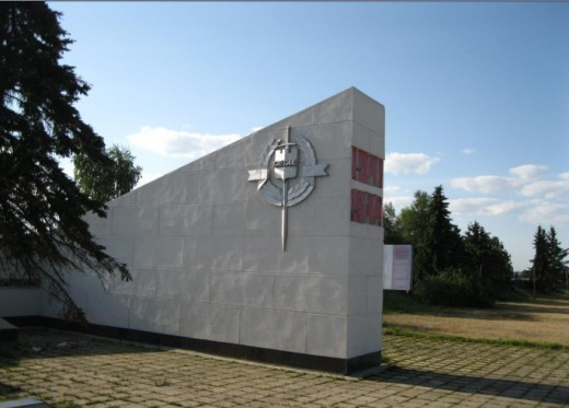 World War II Monument in Field Outside Veliky Novgorod, Russia where Soviet fighters spent most of war while fighting Nazi Occupiers of the city.