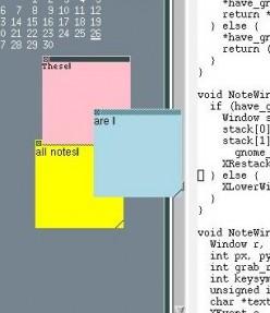 Wnotes on a Motif desktop.
