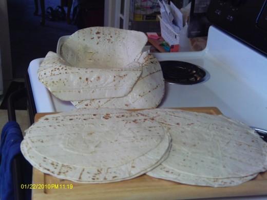 Large tortilla shells work best