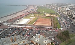 The sea front at Dieppe, France, taken from the castle