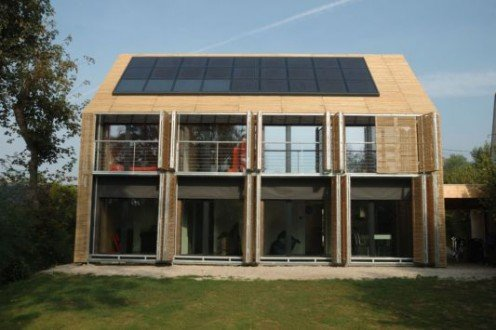Solar Powered House (Can you see the photovoltaic panels on the roof of the house?)