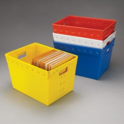 Color-Coded Plastic Totes for Documents