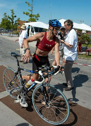 A Triathlete exiting transition prior to the bike leg.