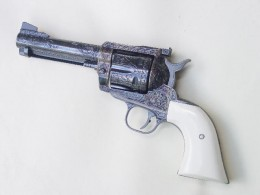 Aftermarket, customized, single-action Ruger Blackhawk revolver. By the standards of the 21st Century, it's not the very best choice for home defense. However it's quite good for ordinary target shooting, and for the sport of Cowboy Action Shooting.