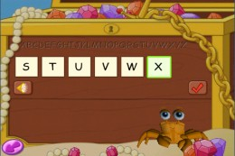 JumpStart game putting part of the alphabet in the correct order