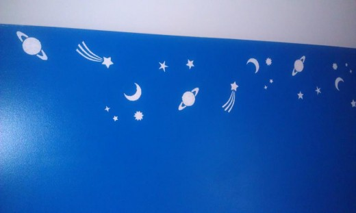 The blue walls got space stuff.