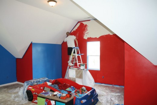 Painting a boy 39 s bedroom in red and blue mickey mouse colors - Blue and red boys bedroom ...
