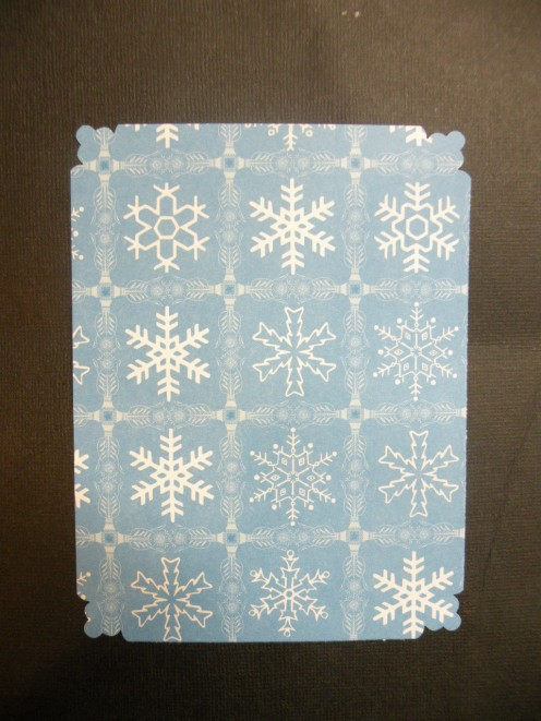 "Blue Snowflake cardstock cut to be 5 1/4 x 4"" size"