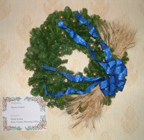 Wreaths were also on display and some of them were done in color schemes and/or themes that matched a particular tree.