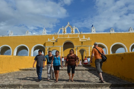 Heading up to the monastery, which is built atop one of Izamal's Mayan pyramids.