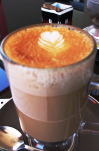 """A perfect Latte' with a touch of the unusual, for """"A+"""" presentation."""