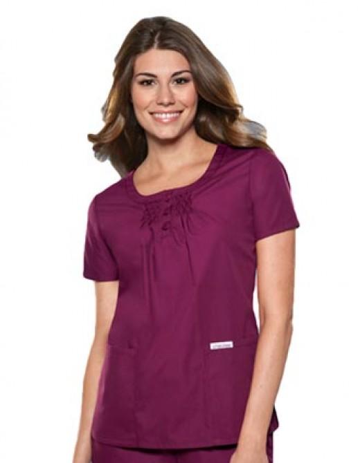 Cherokee Womens Two Pocket Pin Tuck Solid Nursing Scrub Top