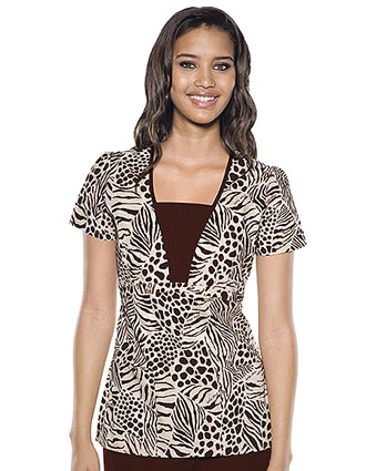 shaped V-neck tigress scrub top