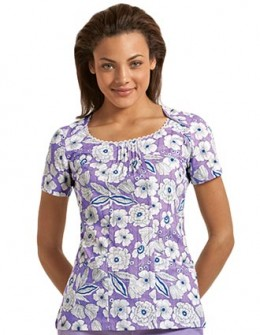 round neck, floral printed Cherokee scrub top