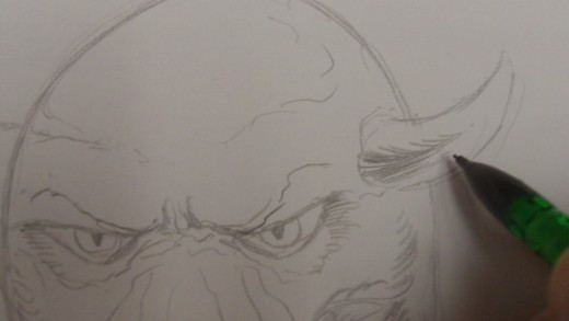Last bits of shadow on the horns and it's a workable drawing....