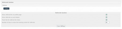 Referrals system - Settings page