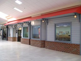 The store front for Houston Tinplate Operators' Society was desgined to look like an old time train depot.