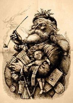 SANTA IN 1881. YES, HE HAS BEEN AROUND A FEW YEARS. THAT'S A LOT OF HAPPINESS HE'S SPREAD. DID YOU EVER THINK OF THAT?