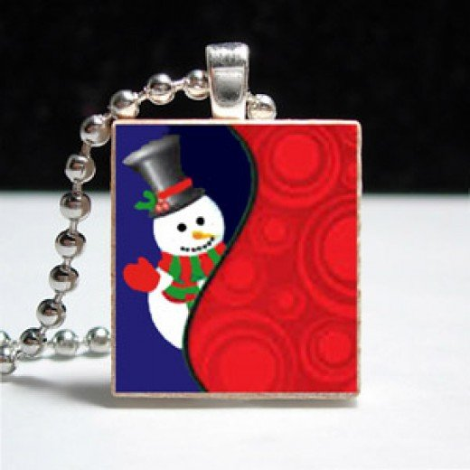 Eco Friendly Scrabble Tile Pendant Jewelry Snowman Wave
