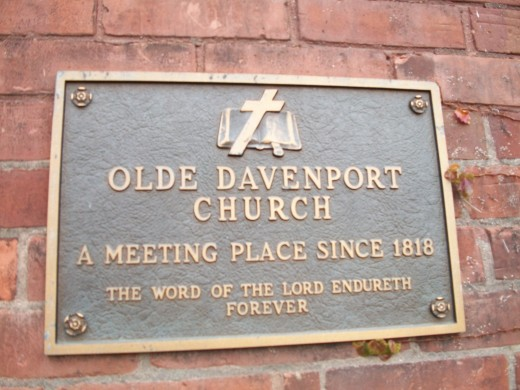 Historical plaque at Olde Davenport Church, Toronto