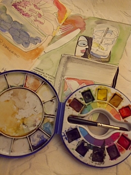 """Keeping my little box of paints and my sketchbook in my purse at all times helps me to """"see"""" what's around me"""
