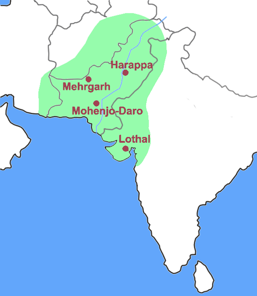 Indus Valley Civilization (Outline of the present day map is not perfect)