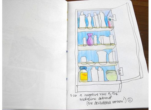 Here's a drawing I'm not too happy with.  I was trying to draw the negative space in my medicine cabinet using one continuous line.