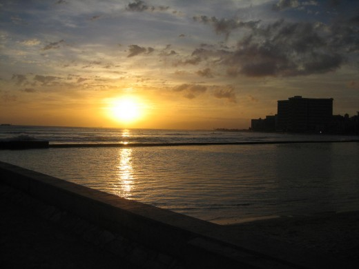 Sunset at Waikiki Beach