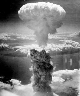 First atomic bomb used in warfare. Nagasaki, Japan, August 9, 1945.