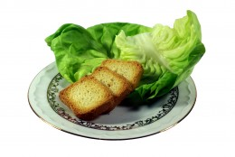 SUPER DIET by Atomi1 DESCRIPTIONExtreme diet toast and salad on the white backround
