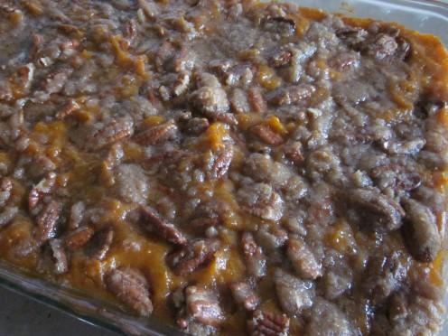 Spread Pecan Topping Over Casserole and Bake at 350 degrees