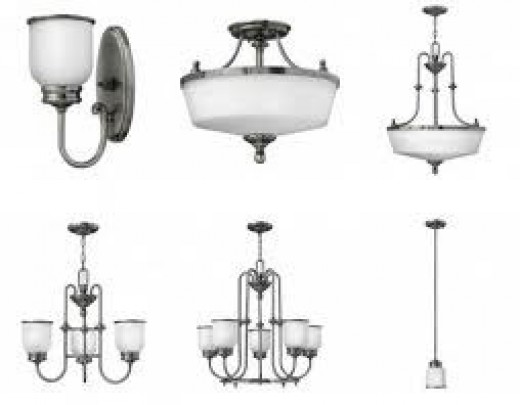 Light fixtures can add a modern look to an older home or an antique look to a new home.