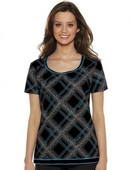 Baby Phat Womens Round Neck Plaid Behavior Scrub Top