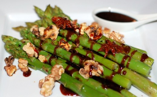 Steamed Asparagus with Star Anise infused pomegranate Molasses