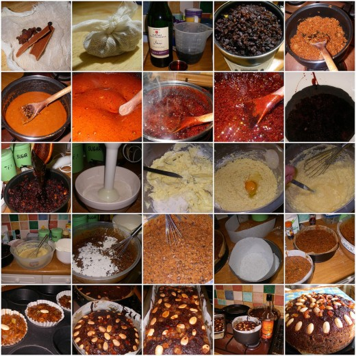Black christmas cake with cinnamon, star anise, allspice, black pepper, clove, mace etc.