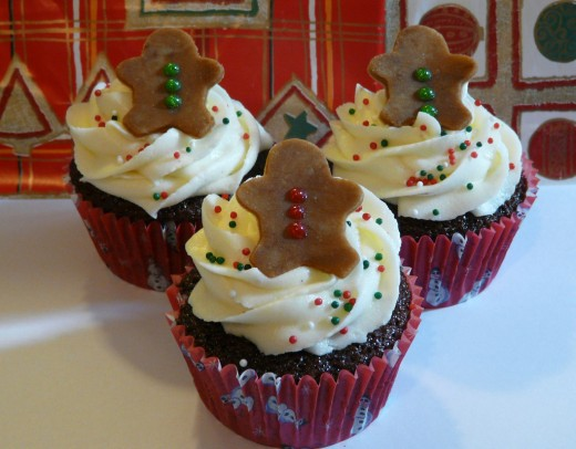 Double Chocolate Gingerbread cupcakes with Vanilla Bean Cream Cheese Frosting.